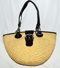 St Johns Bay Natural Wheat Straw & Brown Faux Leather Trim Shoulder Bag