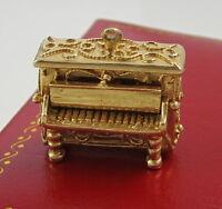 Estate Vintage Rare Ornate 14k Yellow Gold Moveable Piano 9.2 Gram Pendant Charm