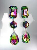 EXQUISITE Mystic Fire Crystals Chandelier Bridal Pageant Prom Drag Earrings