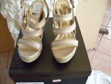 Sandals LR-Jolie Ankle Straps Canvas Gold Shoes Size USA 10 Medium B,M lr Jolie