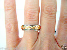 JAMES AVERY 14kt Gold and Sterling Silver Band With Gold Braid Sz 7.5