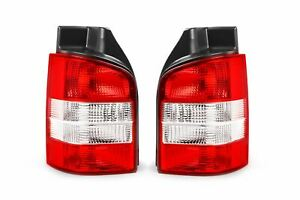 VW Transporter T5 Caravelle 03-15 Rear Tail Lights Set Pair Clear Red 1 Door