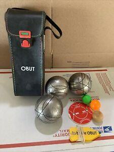 Pétanque Court Ball Petanque Obut Boules Set Of 3 Balls W Score Keeper Vintage