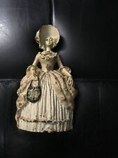 ~Lg Victorian Cast Iron Lady Woman Girl Door Stop Hubley?Bonnet Hat Hoop Skirt~