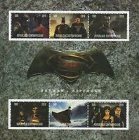 BATMAN VS SUPERMAN DAWN OF JUSTICE AFFLECK CAVILL 2016 MNH STAMP SHEETLET