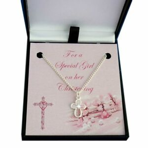 Girl's Christening Necklace with Cross. Daughter Christening Day Gift Jewellery