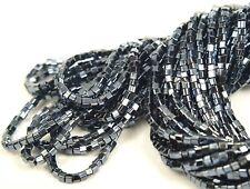 "Czech Cube/ Square Glass Beads 2x2 mm "" GUNMETAL"" 1 Hank"