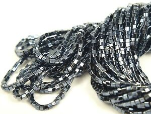 "Czech Cube/ Square Glass Beads 2x2 mm "" GUNMETAL"" 1 Hank"