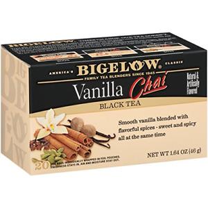 Bigelow Vanilla Chai Black Tea Bags 20-Count Box Pack of 6, Caffeinated Black