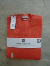 """MARKS & SPENCER MENS PURE COTTON JUMPER CORAL SIZE X LARGE 44-46"""" CHEST"""