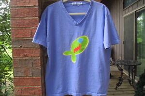 fresh produce women's L shirt top Fish graphic 100% cotton Peri Blue