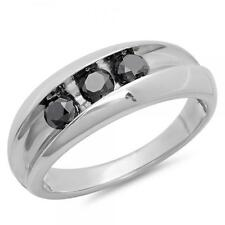 Sterling Silver Diamond Men's Channel Set Anniversary Wedding Band 1 1/4 CT
