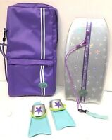 AMERICAN GIRL DOLL Retired Kailey SURFBOARD Boogie Board Paddle, Flippers & Case