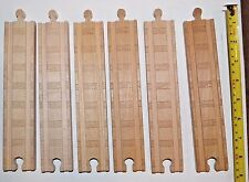 "Genuine Thomas & Friends Wooden Railway Train Tank 8.5"" Straight Track 6 Pc Lot"