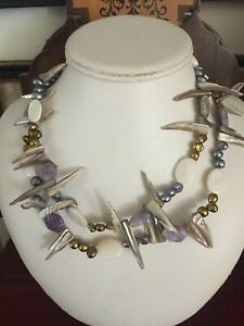 MOTHER OF PEARL, SEED PEARLS,STONE, DOUBLE STRAND NECKLACE