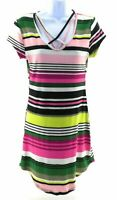 Derek Heart Juniors Multi Color Striped Short Sleeve V Neck Dress Size Medium