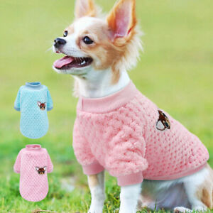 Soft Dog Sweater for Small Dogs Warm Pet Clothes Puppy Cat Jumper Vest Pink Blue