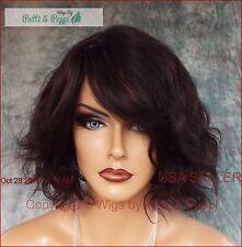 BEACH CURLS MEDIUM LENGTH BOB WITH A SWOOP BANG HUMAN HAIR * Natural Black 1103