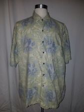 Tori Richard Button Front Hawaiian Leaf Green Cotton Shirt 2XL
