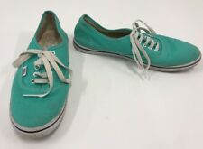 VANS Lace Up Canvas Shoes MINT GREEN Sneakers Womens 9.5 Mens 8