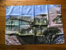 US army Sherman tank WW2 3x2 ft man cave art flag bar pool room wallhanging shed
