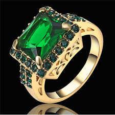 Size 6 Big Stone Green Emerald CZ Gems Wedding Ring 18K Yellow Gold Filled