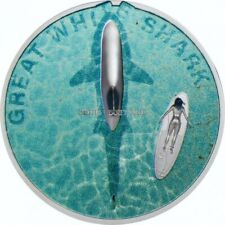 Great White Shark 1 oz proof silver coin Palau 2021
