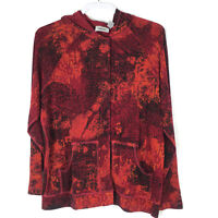 Chicos 1 Travelers Womens Sz Medium Jacket top Hood Pockets Snap Front Red Print