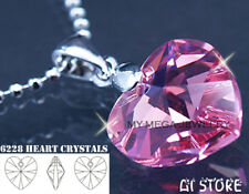 (925 Necklace FREE GIFT) Made with Swarovski Heart Pink Rose Crystal Pendant