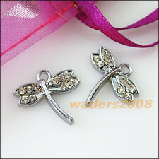3 New Animal Dragonfly Charms Crystal Dull Silver Pendants Craft DIY 16x17mm