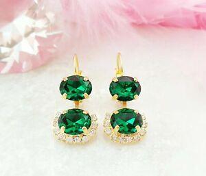 3.2Ct Dual Oval Cut Green Emerald Trendy Drop Women Earring 14K Yellow Gold Over