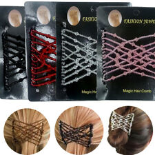 Women Magic Elastic Hair Comb Strong Hairpins Beads Hairstyle Design Accessories