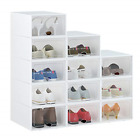 Shoe Box, 12 Pack Shoe Storage Boxes Clear Plastic Stackable, Shoe Organizer for