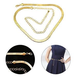 Womens Vintage Gold Dress Chain Belt Ladies Waist Charm Waistband One Size UK