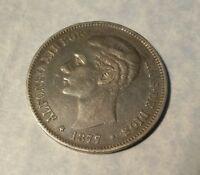 Spain 5 Pesetas, 1877 (77) Silver Crown replaced 8 Reales 8R