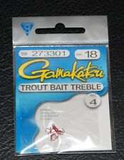 4 Pack Gamakatsu 273301 Trout Bait Treble Hook Red - Size 18 Super Small Sharp