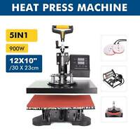 "5 in 1 12X10"" Heat Press Machine Digital Transfer For T-Shirt Mug Hat Plate Cap"