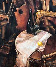 Original Oil Painting Kirill Malkov Russian Artist Interior Still Life Wine