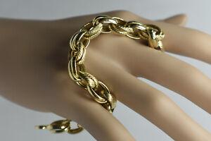 18K Yellow Gold Heavy Polished & Textured Belcher Link Charm Bracelet 13 Grams