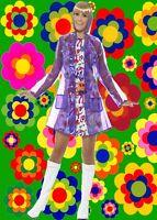 527✪  Twiggy Regenjacke Mantel Retro 60er 70er Jahre Hippie Festival lila Gr S M