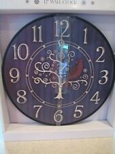 "Cardinal ~ Beautiful Wall Clock 12""D"