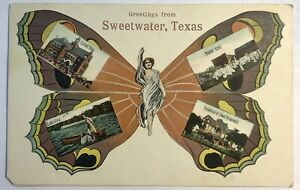 Sweetwater Texas TX Greetings Butterfly Multi-View Postcard 1908 Antique PCK