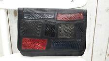 Vintage Clutch   Black Croc Lizard Leather Bag Purse Italy Large Evening
