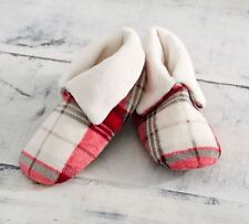 NIP - Pottery Barn Women's Winslow Plaid Print Plush Bootie Slippers