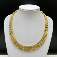 Vintage Signed MONET Gold Tone Choker Chain Necklace