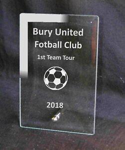 Engraved  Glass Plaque Football Award Trophy Sport