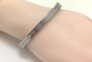 "Michael Kors Silver MK Plaque CZ Hinged Bangle Bracelet, 6.75""/17cm RRP £80"