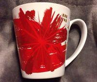 Starbucks Coffee Christmas Mug 11 Oz Cup 2014 Red Flower Gold Star Burst Holiday