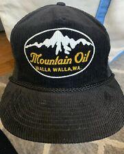 VINTAGE - RARE - MOUNTAIN OIL WALLA WALLA BLACK & YELLOW TRUCKER CAP HAT