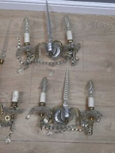 LOT OF 3 ANTIQUE CRYSTAL WALL CHANDELIERS POSSIBLY FRENCH
